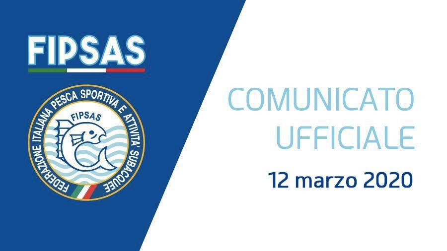 Comunicato FIPSAS A SEGUITO DEL DPCM 11 MARZO 2020